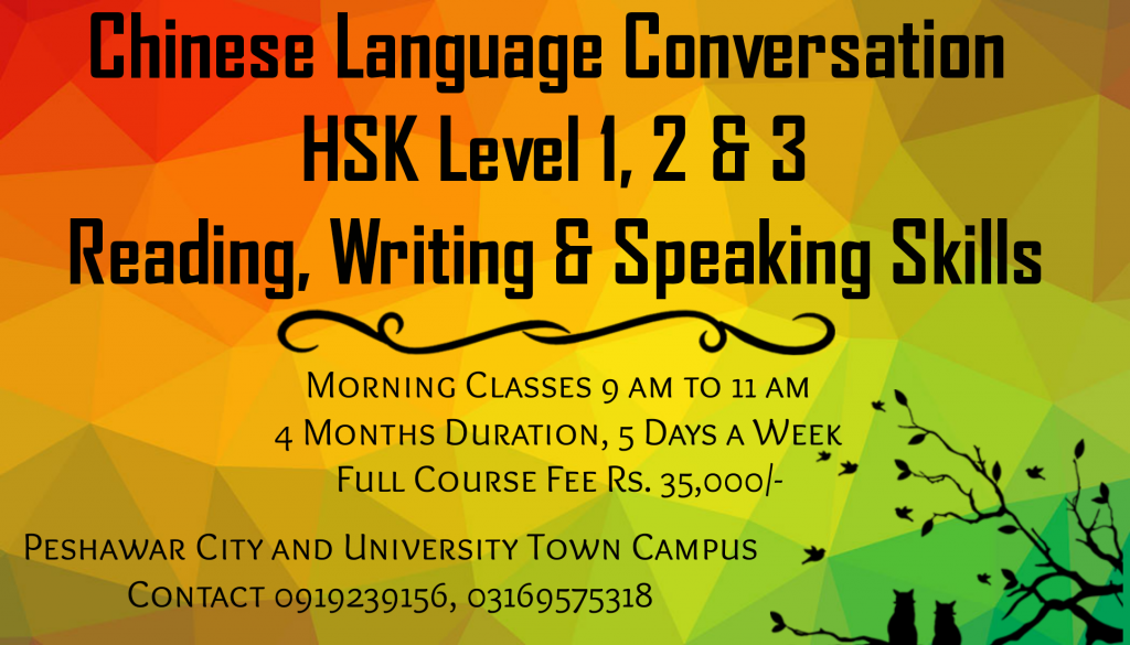Al-HumdullilAllah New Chinese Language Course At University Town Peshawar Morning / Evening Classes Apply At www.SAPP.PK Contact 03169575318 0919239156